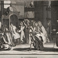 People gathering around a confessional. Etching.jpg