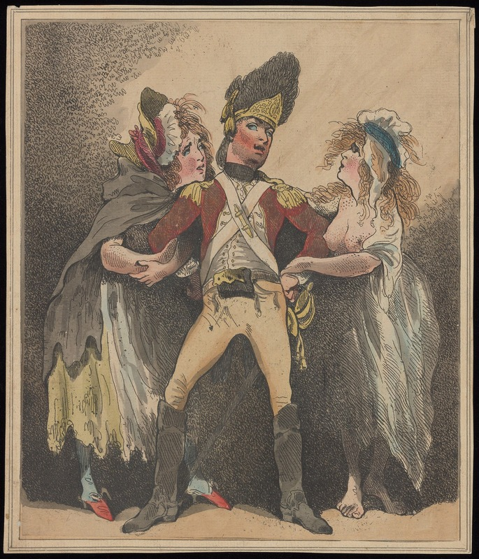 Sketch of soldier with prostitutes